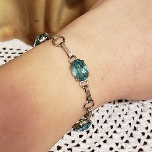Jewelry - Vintage Sterling and aqua bracelet